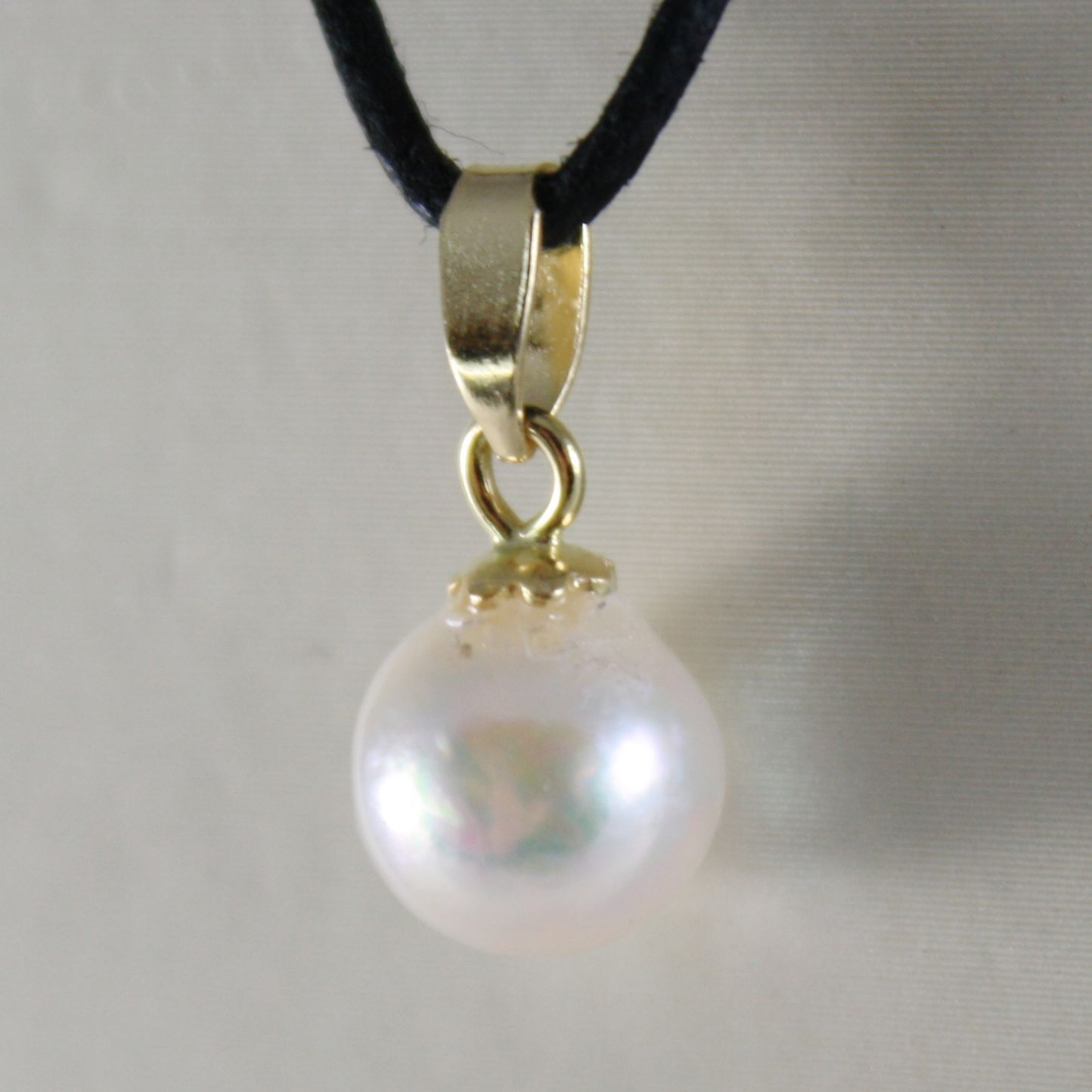 18K YELLOW GOLD PENDANT CHARM WITH ROUND AKOYA WHITE PEARL 7 MM, MADE IN ITALY