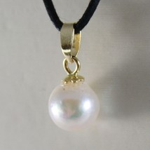 18K YELLOW GOLD PENDANT CHARM WITH ROUND AKOYA WHITE PEARL 7 MM, MADE IN ITALY image 1
