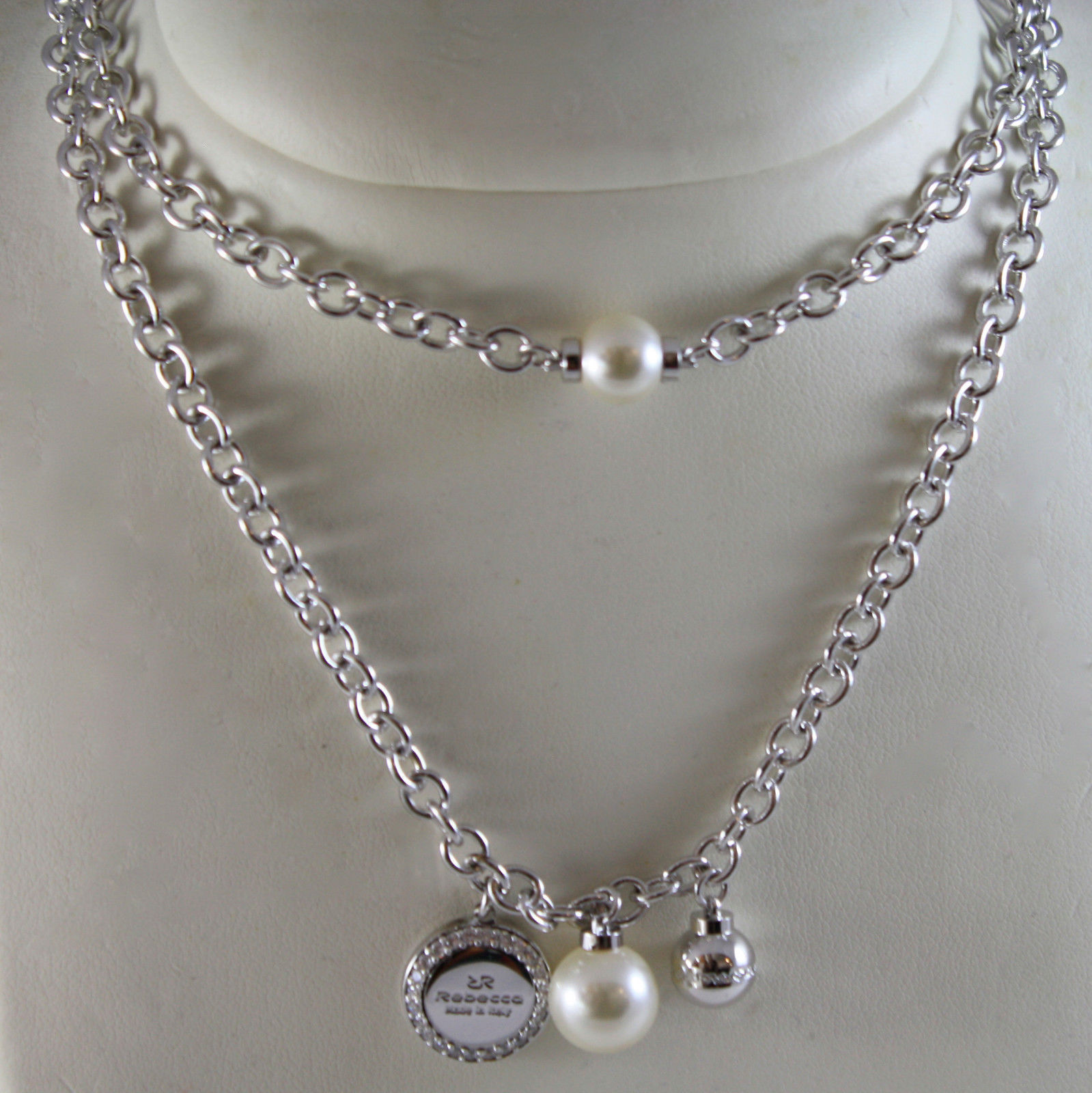 WHITE GOLD PLATED BRONZE REBECCA PEARL NECKLACE HOLLYWOOD BHOKBB08 MADE IN ITALY