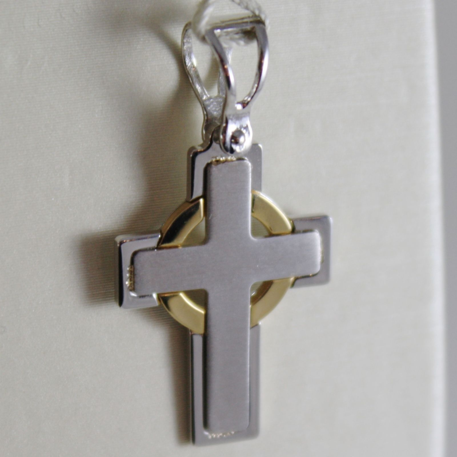 18K YELLOW & WHITE GOLD CROSS, SQUARED SATIN BRIGHT, 1.10 INCH MADE IN ITALY