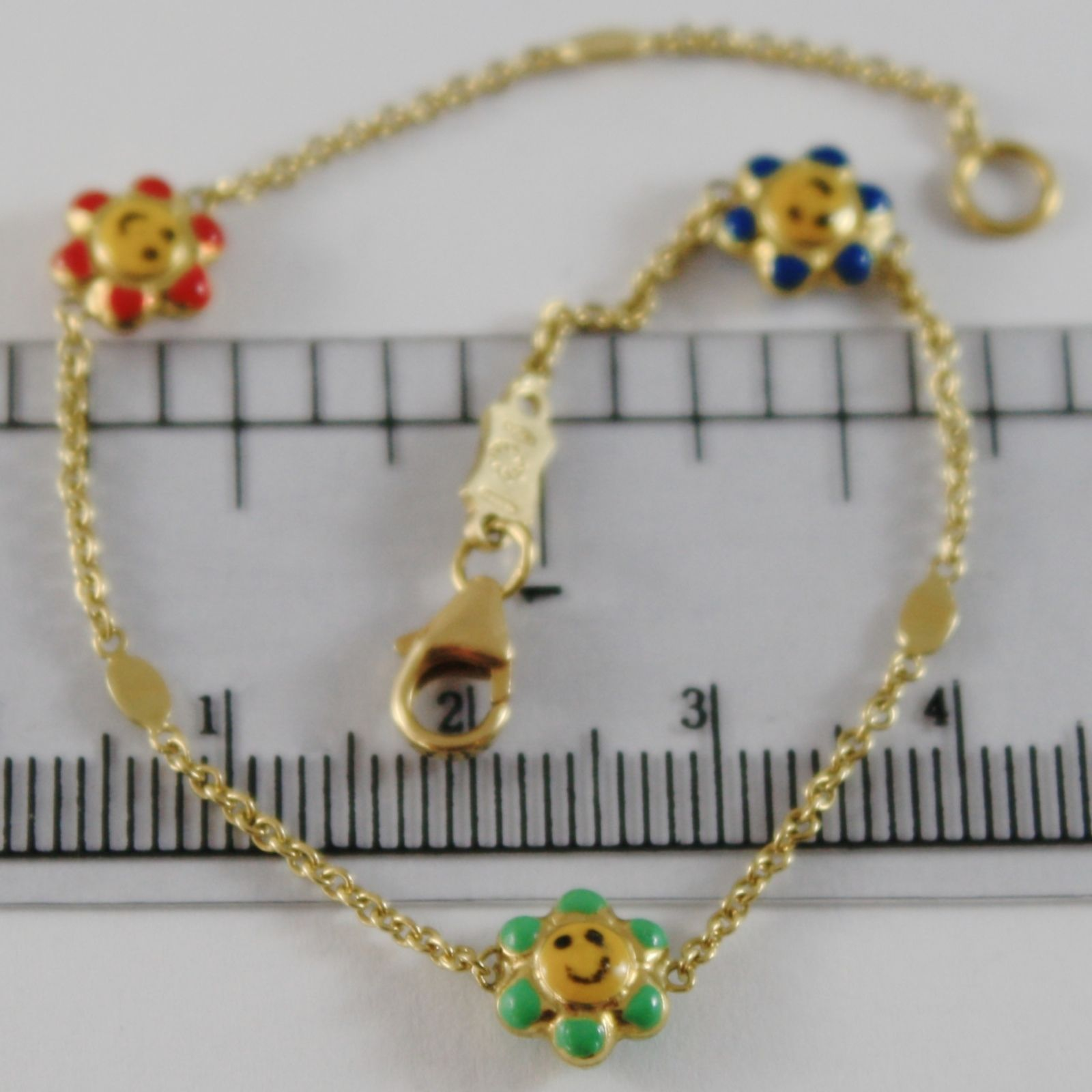 18K YELLOW GOLD GIRL BRACELET 6.70 INCH. GLAZED FLOWER, ENAMEL, MADE IN ITALY