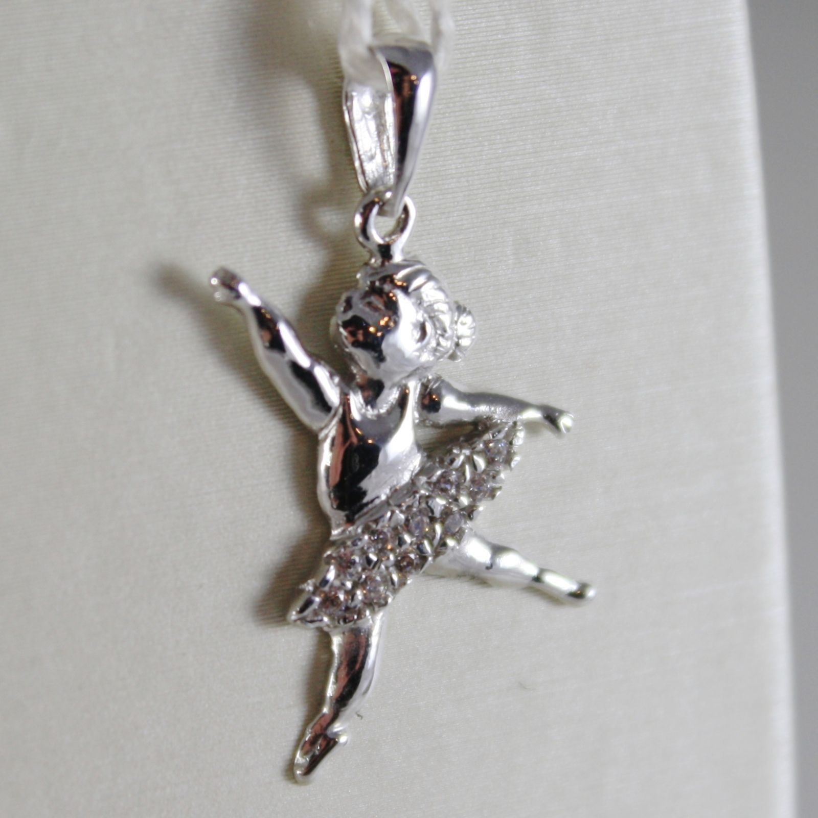 18K WHITE GOLD DANCER BALLET BALLERINA PENDANT CHARM WITH ZIRCONIA MADE IN ITALY