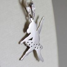 18K WHITE GOLD DANCER BALLET BALLERINA PENDANT CHARM WITH ZIRCONIA MADE IN ITALY image 3