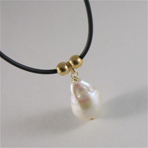 SOLID 18K YELLOW GOLD AND SILICON NECKLACE WITH FW DROP PEARL MADE IN ITALY