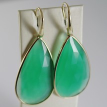 9K YELLOW GOLD PENDANT EARRINGS DROP CABOCHON CHALCEDONY 38 CARATS MADE IN ITALY