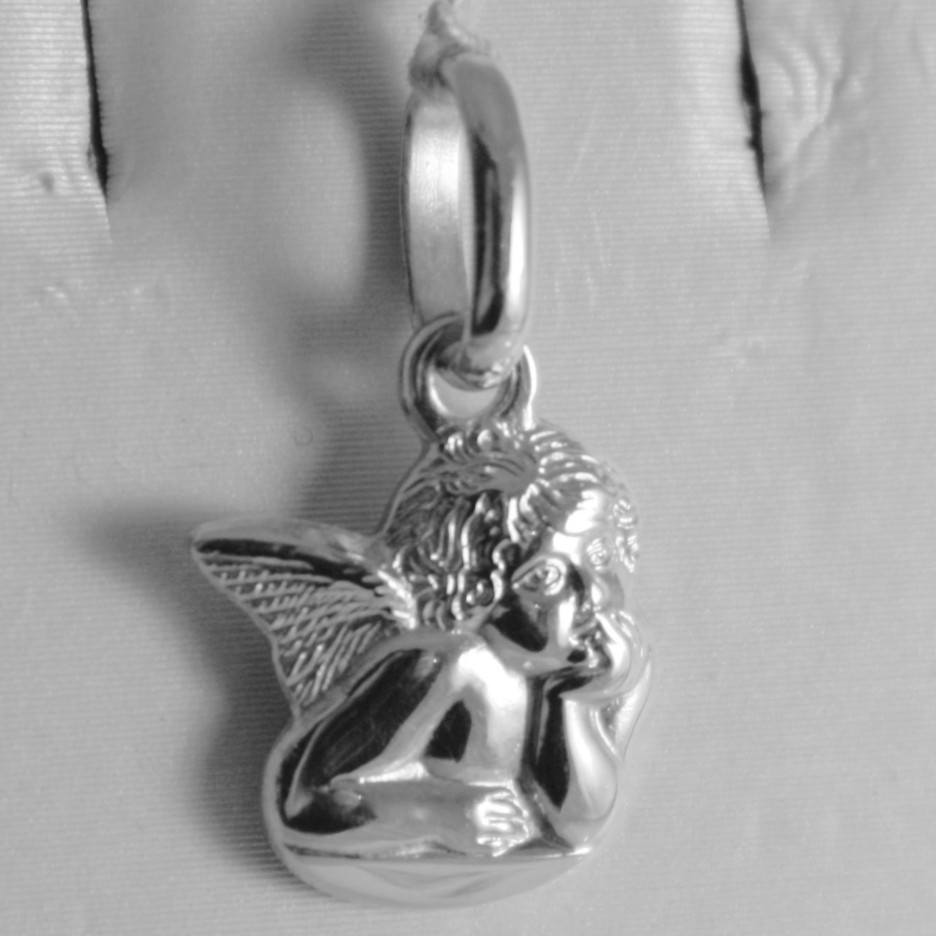 SOLID 18K WHITE GOLD PENDANT, LITTLE GUARDIAN ANGEL, ENGRAVING, MADE IN ITALY