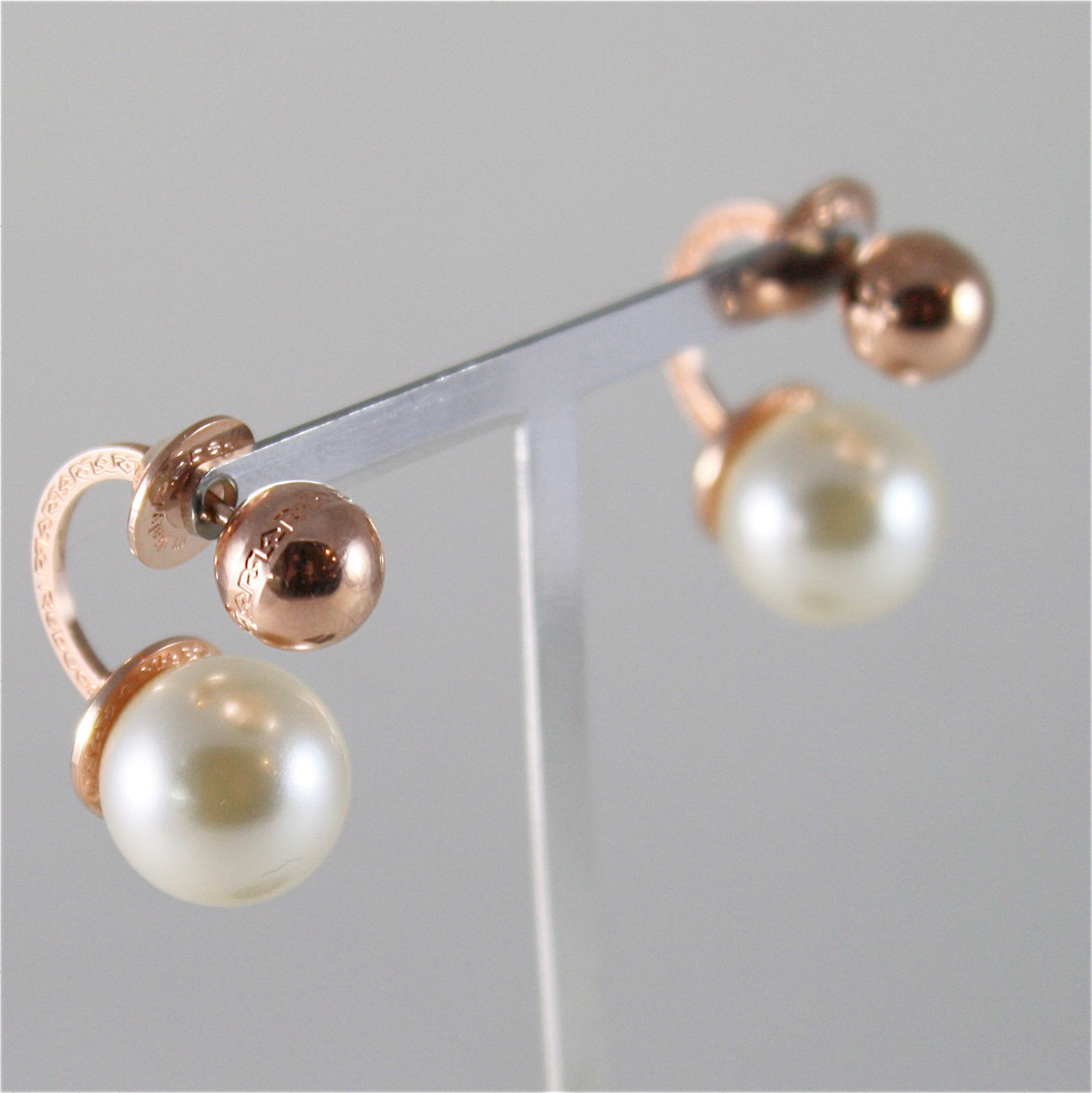 ROSE GOLD PLATED BRONZE REBECCA PEARL EARRINGS HOLLYWOOD BHOORR02 MADE IN ITALY