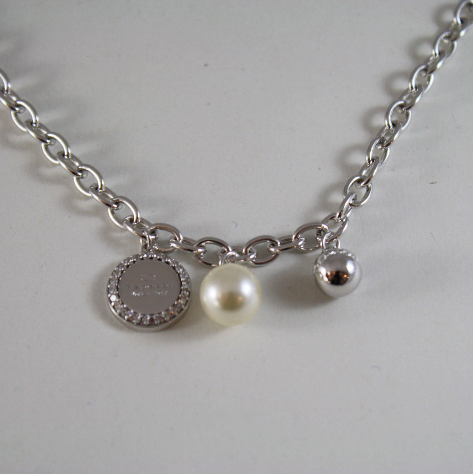 WHITE GOLD PLATED BRONZE REBECCA PEARL NECKLACE HOLLYWOOD BHOKBB01 MADE IN ITALY