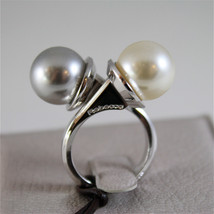 WHITE GOLD PLATED BRONZE REBECCA PEARLS RING HOLLYWOOD BHOABB04 MADE IN ITALY