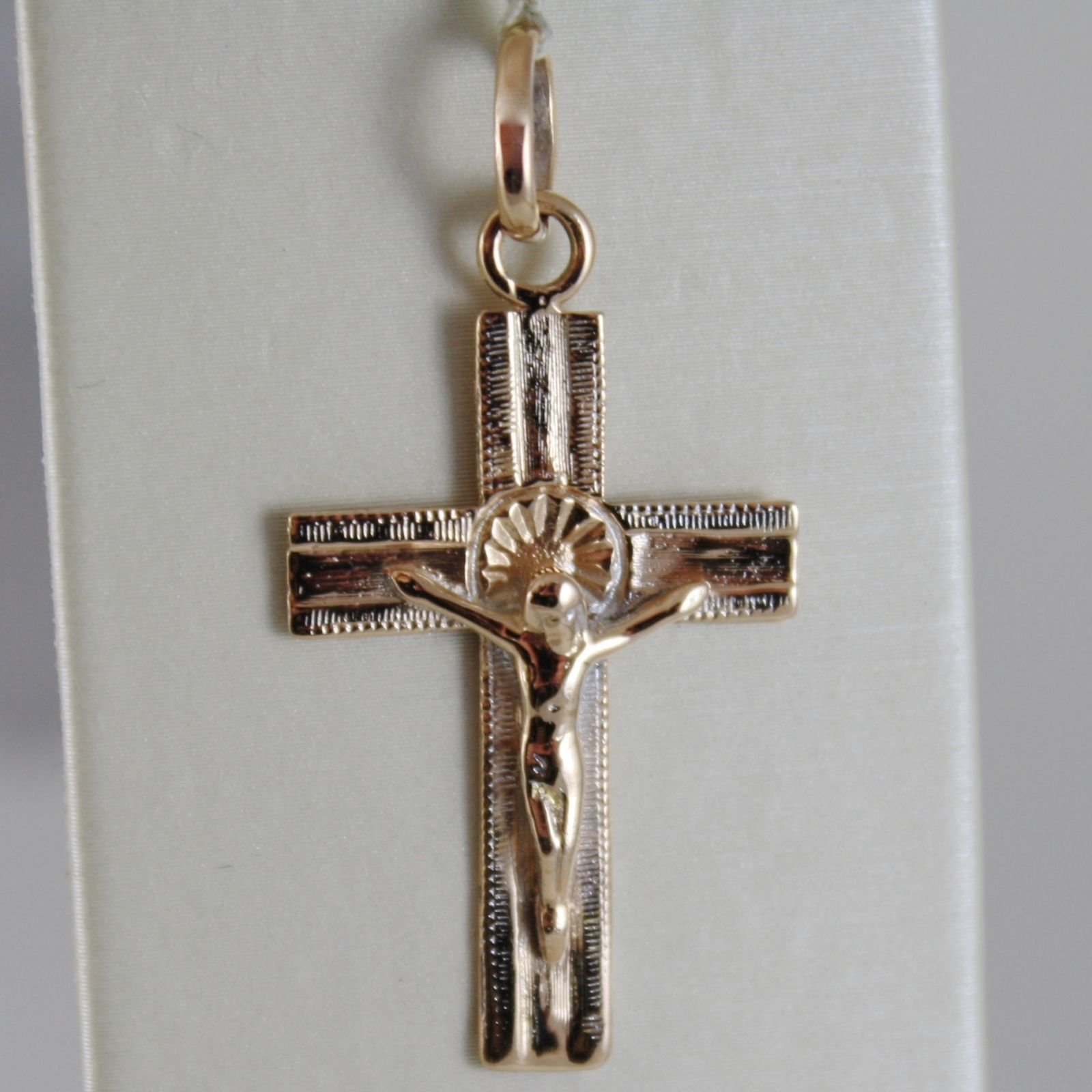 18K ROSE GOLD CROSS WITH JESUS, SQUARED WORKED, SHINY 1.50 INCHES, MADE IN ITALY