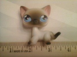 Littlest Pet Shop LPS Black and white Siamese Cat blue eyes 2005 - $17.81