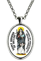 St Brigid of Ireland Patron of Miraculous Healing Power Huge Silver Pendant - $14.95