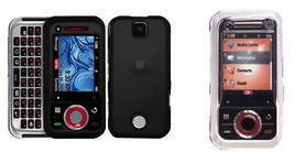 2 Motorola Rival A455 Hard Clear + Black Snap On Cover case skin smartph... - $26.99