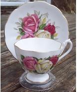 Queen Anne Roses Tea Cup & Saucer Set Excellent Condition - $19.00