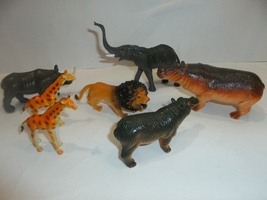 Zoo Animals Lot of 7 PCS, Kids Toys Rubber Plastic - $11.99