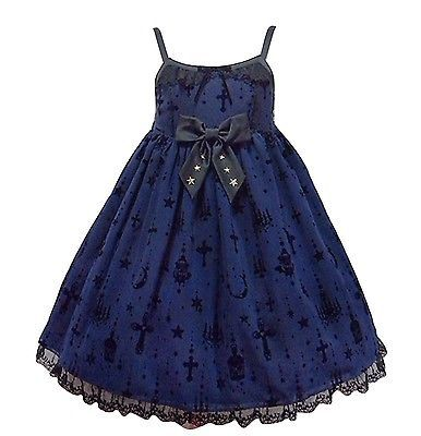 Angelic Pretty Holy Lantern High Waist Jumperskirt Dress in Navy Lolita Fashion