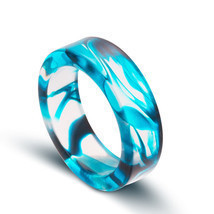 NEW Unique Transparent Blue Swirl Size 7 Resin Ring - $14.95