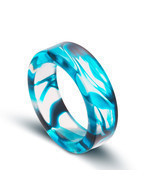 NEW Unique Transparent Blue Swirl Size 7 Resin Ring - $19.76 CAD