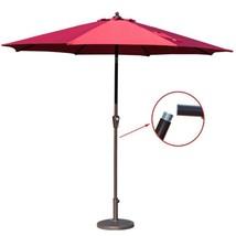 9' Market Aluminum Patio Umbrella Auto Tilt And Crank 8 Ribs Fabric Cove... - $58.46