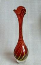 RETRO MOD ❤ MCM SCANDINAVIAN Red RUBY Yellow Stripe ART GLASS Spiral SPL... - $64.30