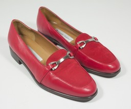 """Womens Red Leather Loafers Etienne Aigner Shoes Size 7 1/2 Low Heel 3/4"""" - $52.25"""