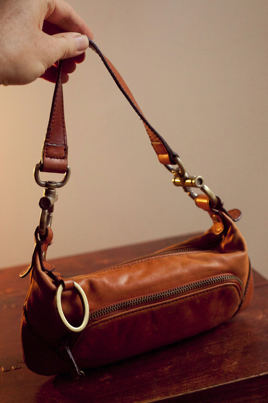 The Limited small brown faux leather woman's purse handbag brass hardware (t8)