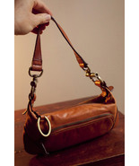The Limited small brown faux leather woman's purse handbag brass hardwar... - $27.55
