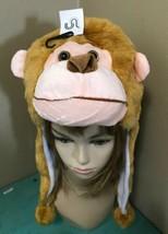 Brown MONKEY Plush Fur Animal Head HOODIE HAT Furry costume ear flap cap... - $13.54
