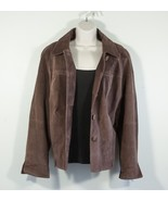 Womens brown suede leather jacket Car Coat button up jacket Size L Large - $61.75