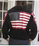 Mens Womens Vintage Phoenix Leather USA American Flag Jacket Sz Medium - $104.50