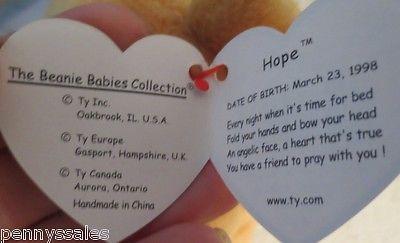 Ty Beanie Baby Hope 1998 5th Generation Hang Tag Gasport Tag Error S/B Gosport