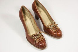 Michael Kors Brown Leather Lace Up Pumps Womens Size 10 - $30.88