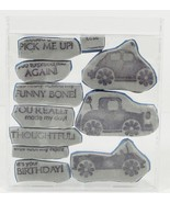 CUTE Clown Car Flower Car Unmouted Cling Rubber Stamps Set of 10 - $4.75