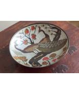Fruit Bowl Metal Vintage Hand Enameled Peacocks on Brass India made (t7) - $18.05