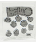 Very Cute Stitched HellO with misc. Unmounted Cling Rubber Stamps Set of 10 - $7.60