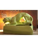 VINTAGE Lime Green Panther Cougar TV Lamp (t7) - $42.75