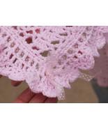 "Crochet Pink Baby Handmade Nursary Throw Blanket Afghan w/ Bows 48"" x 38... - $46.55"