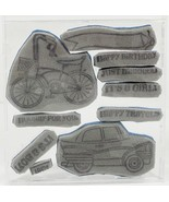 Cute Happy Travels Transportation Bike and Car Rubber umounted Cling Stamps - $7.60