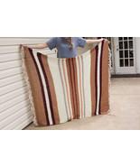 Handmade brown tan crochet striped afghan throw blanket 5.5' x 4.5' - $80.75