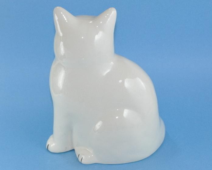 White Cat Large Figurine signed Furtado Ceramic