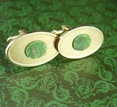 Mystical JADE cufflinks Original Box Gold Dante jewelry Virgo Birthstone Symbol  - $165.00