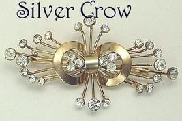 Vintage Sterling Silver Vermeil Clear Rhinestone Spray Pin Brooch and Earrings - $99.99
