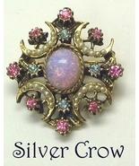 Vintage Faux Opal & Rhinestone in Gold Tone Pin... - $34.99