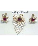 Vintage Gold Tone Red & Clear Rhinestone Brooch Pin Pendant & Earring Set - $17.99