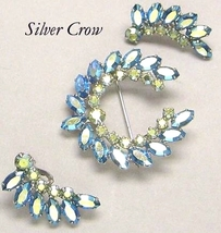 Vintage Blue AB Rhinestone Brooch & Earring Set B. David - $24.99