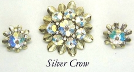 Vintage Weiss Aurora Borealis Gold Tone Brooch & Earrings  Mint - $69.99