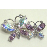 Vintage Two Butterfly Pin Brooch Rhinestone  Si... - $17.99