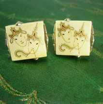 Chinese Cuff links theater masks 18kt gold handpainted female dancers go... - $145.00