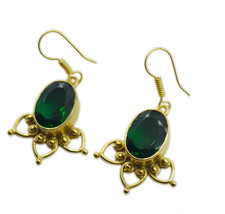 comely Emerald CZ Gold Plated Green Earring genuine indian US gift - $11.87