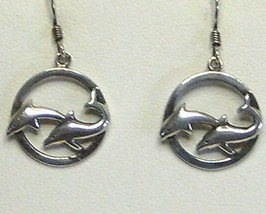 Sterling Silver Double Dolphin in Circle Earrings - $17.99
